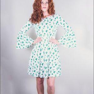 NWT Cactus Print bell sleeve Flare Dress